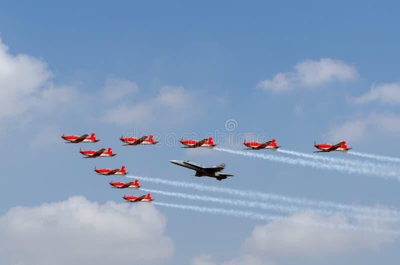 费尔福德,英国, 2018年7月13日:提供瑞士航空公司F的照片 库存照片