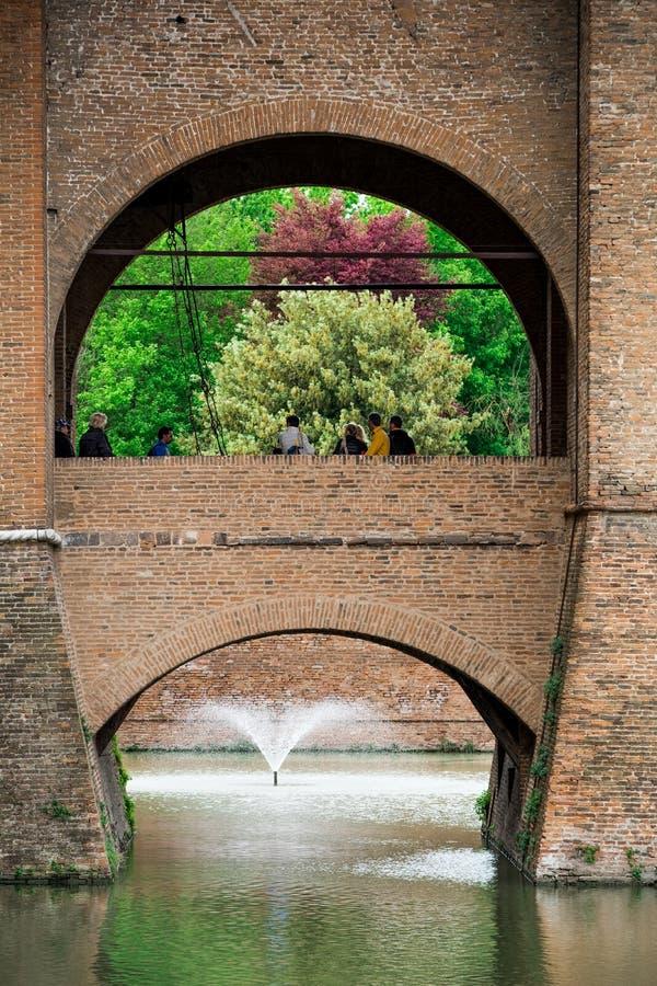 费拉拉,伊米莉亚罗马甘,意大利- Castello城堡Estense 库存照片