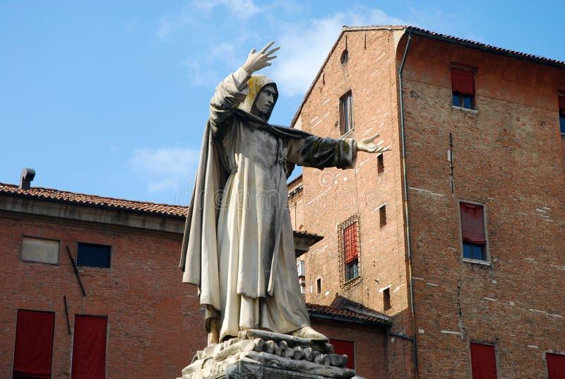 费拉拉savonarola雕象 免版税库存照片