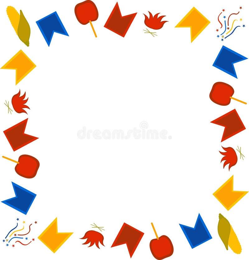 费斯塔的Junina方形的模板 巴西节日在6月 旗子、五彩纸屑、玉米、焦糖苹果和篝火框架在whi 向量例证