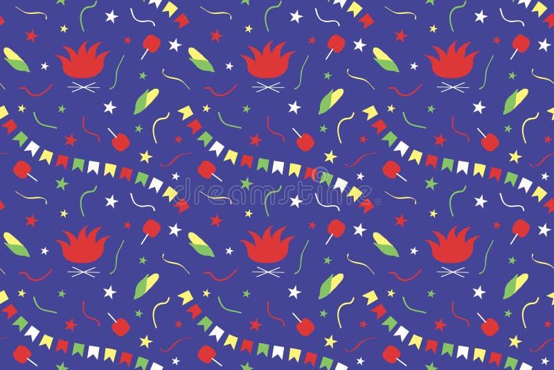 费斯塔的Junina无缝的样式 巴西6月节日 篝火,旗子,蛇纹石,星,玉米,在焦糖o的苹果诗歌选  库存例证