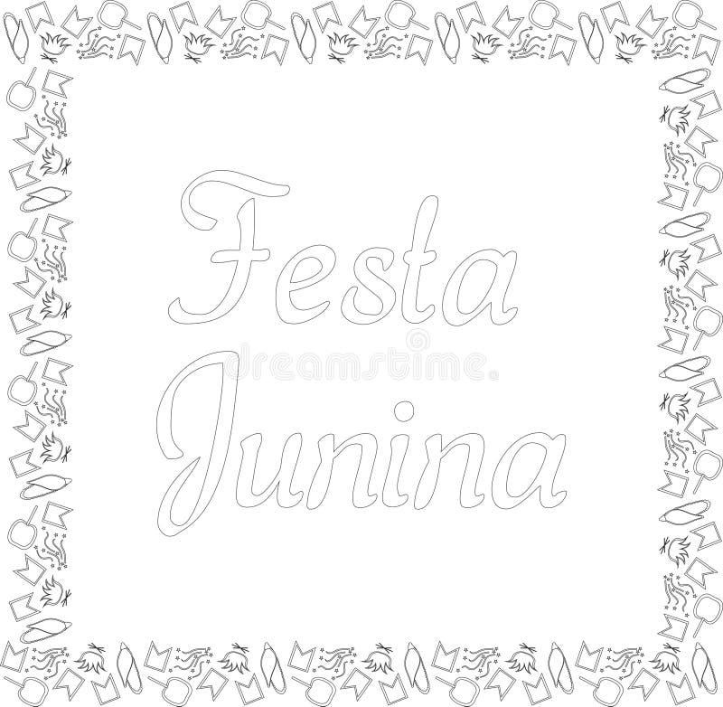 费斯塔的Junina正方形黑白横幅 巴西节日在6月 小旗子、玉米、五彩纸屑、焦糖苹果和篝火 向量例证
