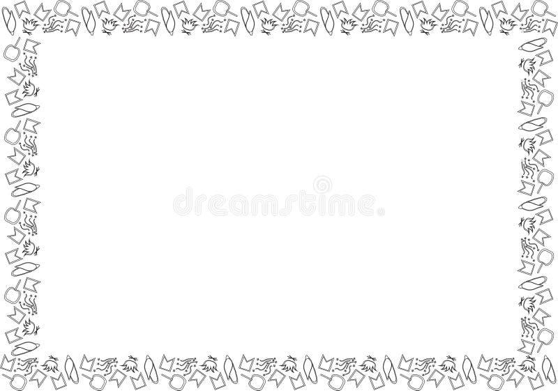 费斯塔的Junina黑白模板 巴西节日在6月 玉米,篝火,旗子,五彩纸屑,appl长方形框架  皇族释放例证
