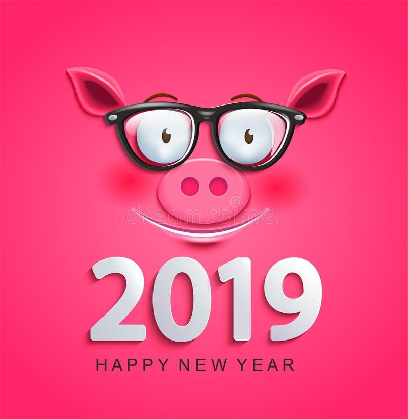 贺卡与猪面孔的2019个新年 皇族释放例证