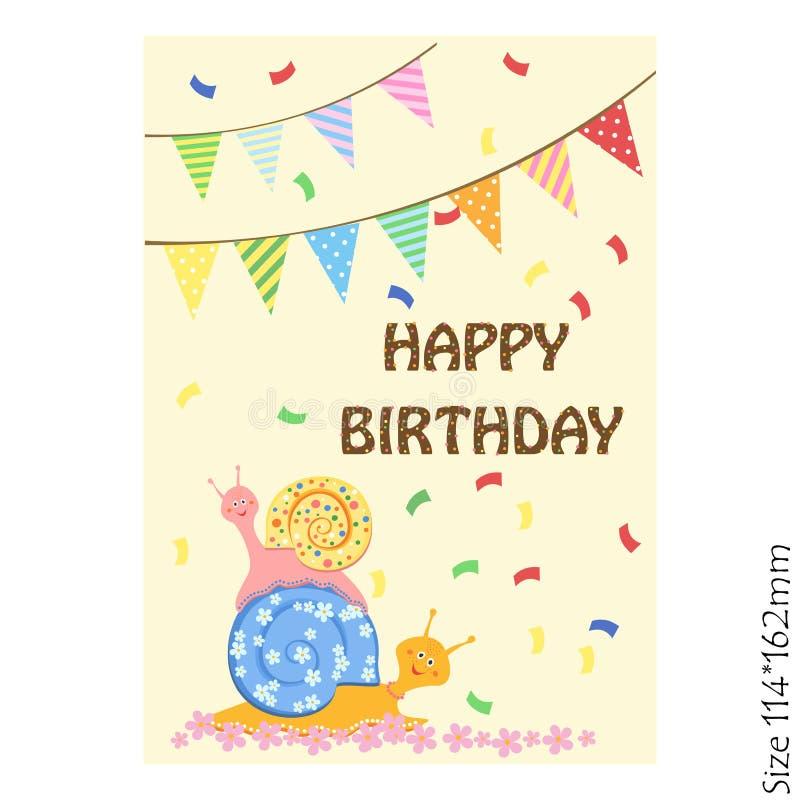 贺卡为儿童生日快乐 滑稽的蜗牛和五颜六色的欢乐横幅 喜悦,幸福,孩子 向量例证