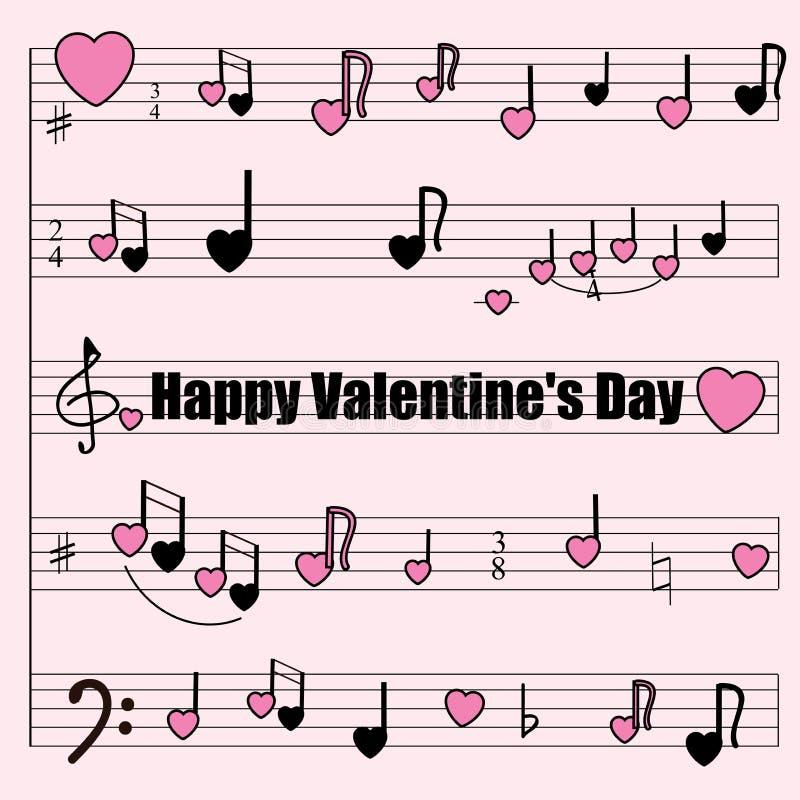 贺卡为华伦泰` s天:与风格化笔记、小提琴和低音钥匙,心脏的一个音乐磨房 皇族释放例证