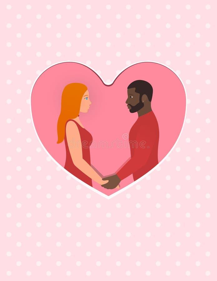 贺卡为愉快的情人节, 2月14日 有美丽的红头发人妇女的有胡子的美国黑人的人,愉快 库存例证