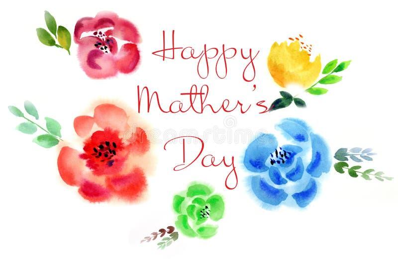 贺卡为母亲节 与不同颜色的美丽的卡片集合和卡片的 皇族释放例证