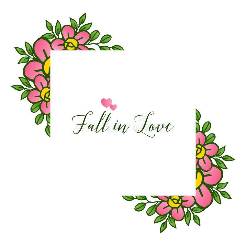 贺卡各种各样的设计坠入爱河,与典雅的逗人喜爱的叶子花框架样式  ?? 库存例证