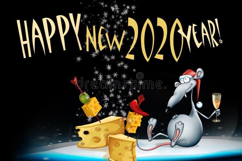 贺卡在2020年 E 新年快乐2020年!新年卡片设计 向量例证