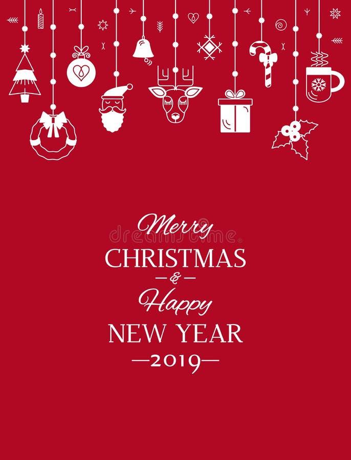 贺卡或横幅与词我们祝愿您圣诞快乐和新年快乐 抽象圣诞节横幅与 皇族释放例证