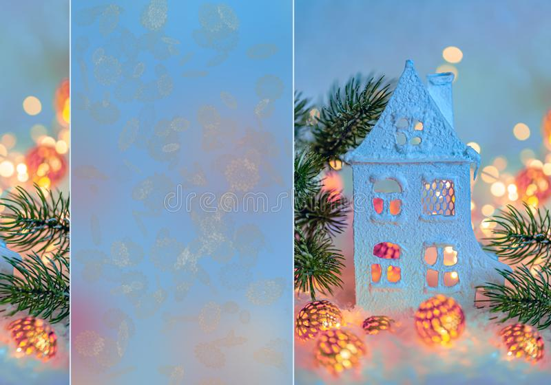 贺卡新年快乐和圣诞快乐 美丽的村庄或瑞士山中的牧人小屋,背景,冬天装饰的假日 库存照片