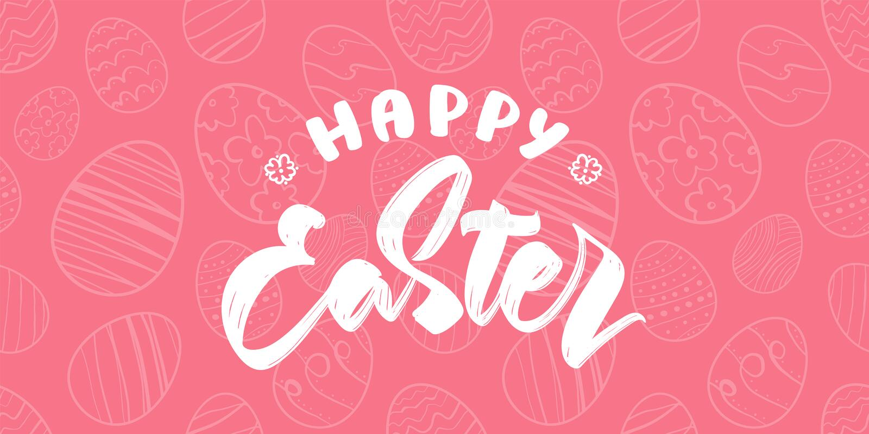 贺卡用手拉的鸡蛋,复活节快乐的手写的类型字法 库存例证