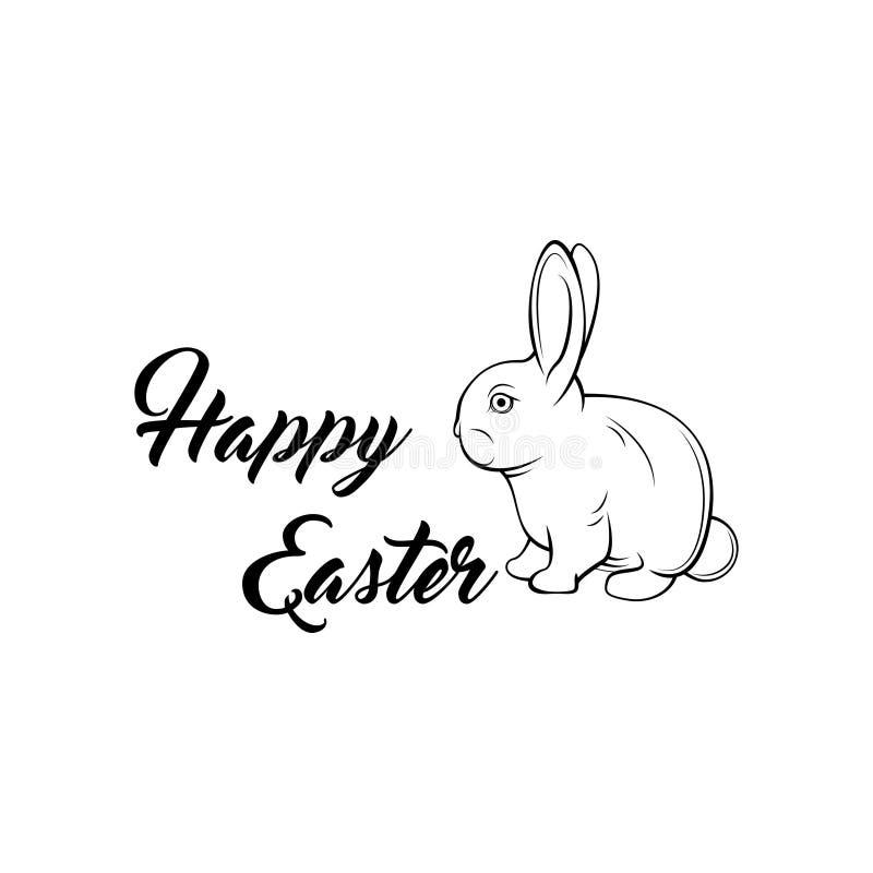 贺卡用用白色复活节兔子 滑稽的兔宝宝 也corel凹道例证向量 皇族释放例证
