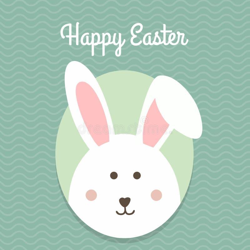 贺卡用用白色复活节兔子 滑稽的兔宝宝 兔宝宝复活节 库存例证