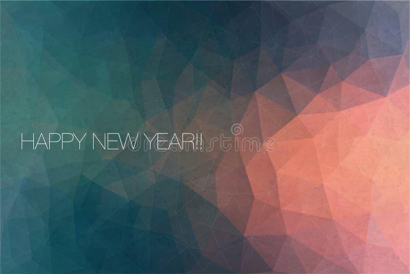 贺卡的新年快乐文本 传染媒介在抽象背景的假日设计 向量例证