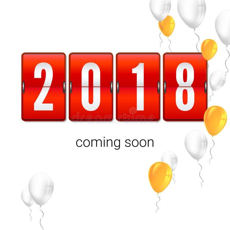 2018贺卡的新年概念与飞行的可膨胀的气球 类似物,轻碰时钟定时器,时钟计数器 皇族释放例证