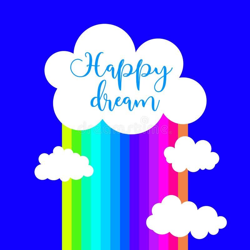贺卡的,邀请,海报,T恤杉设计传染媒介元素 云彩,雨,彩虹,夏天,字法,天空蔚蓝 向量例证