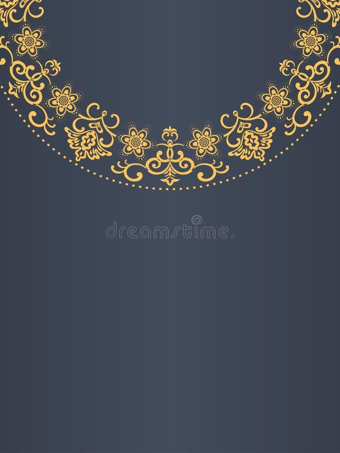 贺卡背景,金黄框架,花卉元素,触毛,模板 向量例证