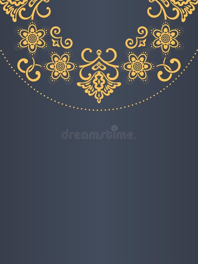 贺卡背景,金黄框架,花卉元素,触毛,模板 库存例证