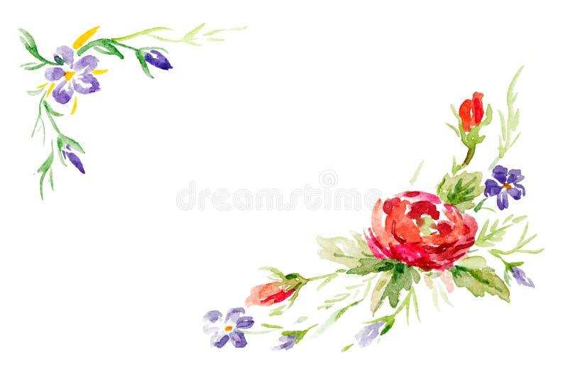 贺卡设计的花卉水彩集合 角落或框架 库存图片