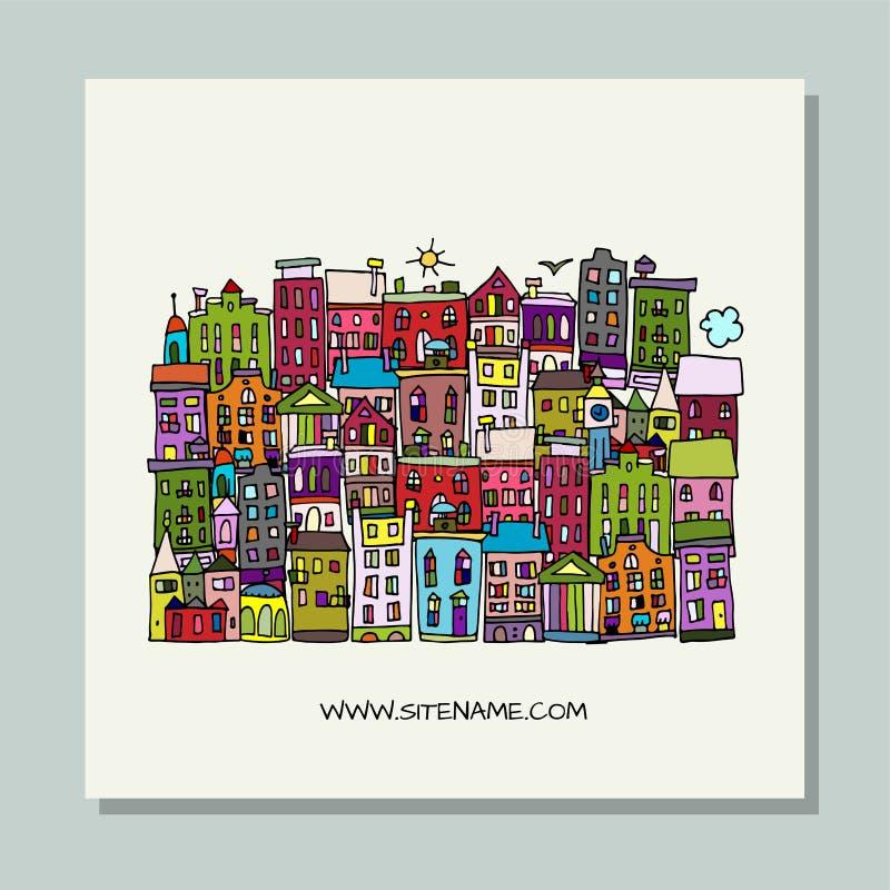 贺卡设计,欧洲城市街道 库存例证