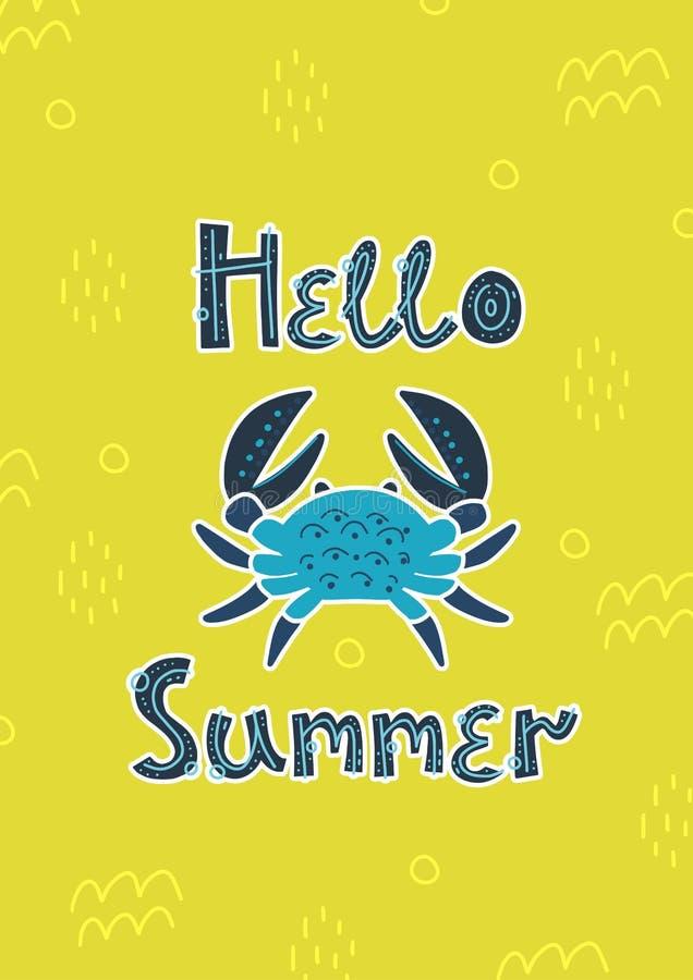 贺卡,夏天,请帖 螃蟹和在你好夏天上写字 太阳和海滩 皇族释放例证