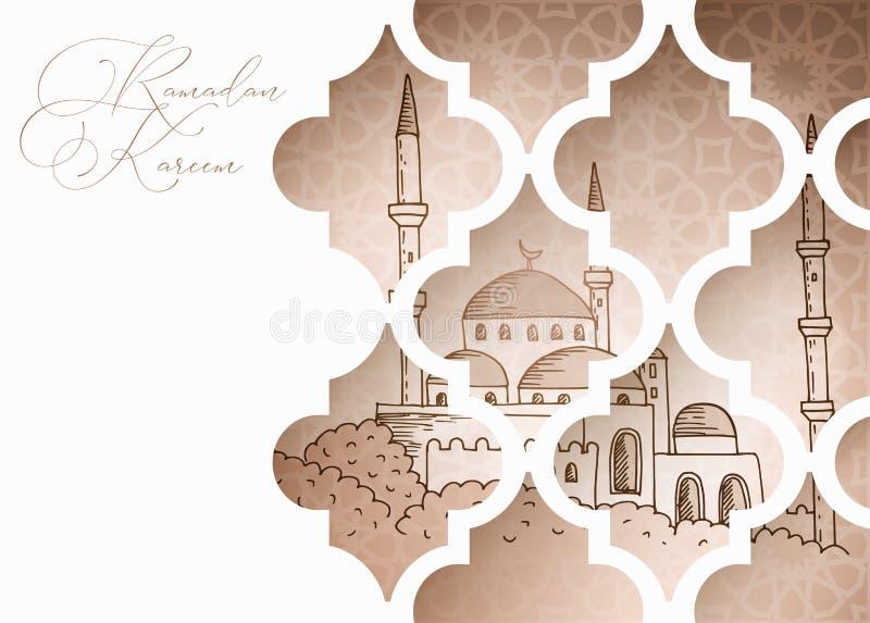 贺卡,邀请的回教假日斋月Kareem 手拉的清真寺通过装饰阿拉伯窗口 r 皇族释放例证