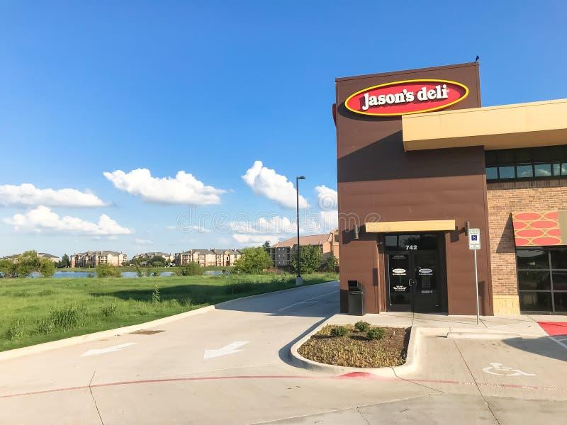 贾森熟食店联锁饭店外部入口在Lewisville, 库存图片