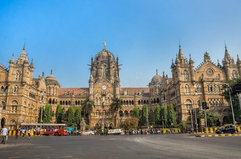 贾特拉帕蒂・希瓦吉终点站火车站或维多利亚终点在孟买 图库摄影