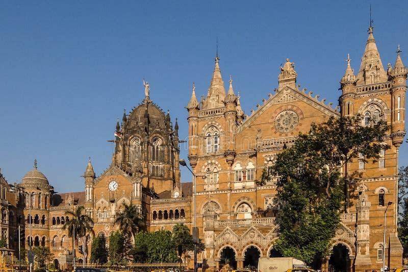 贾特拉帕蒂・希瓦吉终点站火车站是一个历史的火车站和联合国科教文组织世界遗产名录站点在孟买,马哈拉施特拉 库存图片