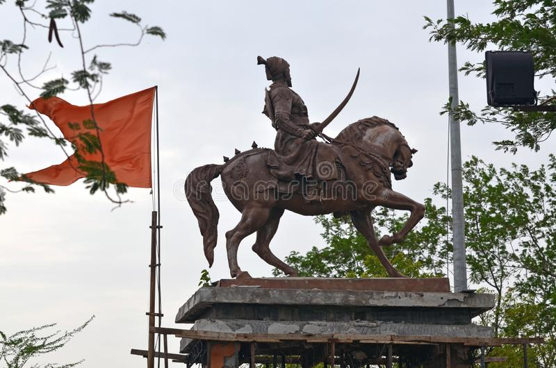 贾特拉帕蒂希瓦吉马哈拉杰雕象 库存照片