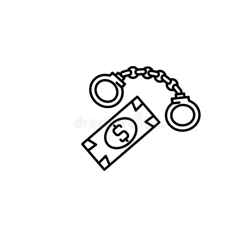 贿款,手铐,钳位,金钱象 腐败象的元素 网站设计和发展的,应用程序稀薄的线象 库存例证