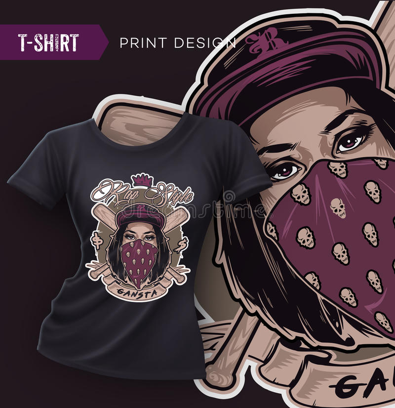 赃物与俏丽的Hip Hop女孩面孔的T恤杉设计 向量例证