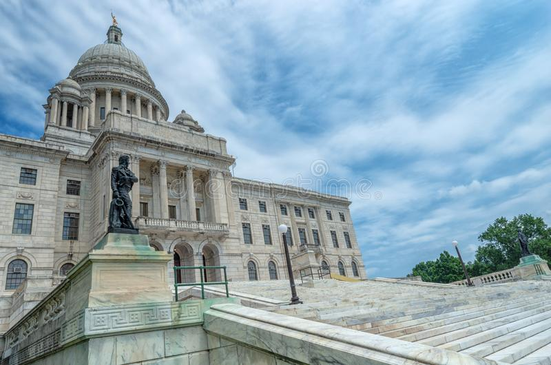 资本上帝的罗德岛州状态议院 美国 免版税库存照片