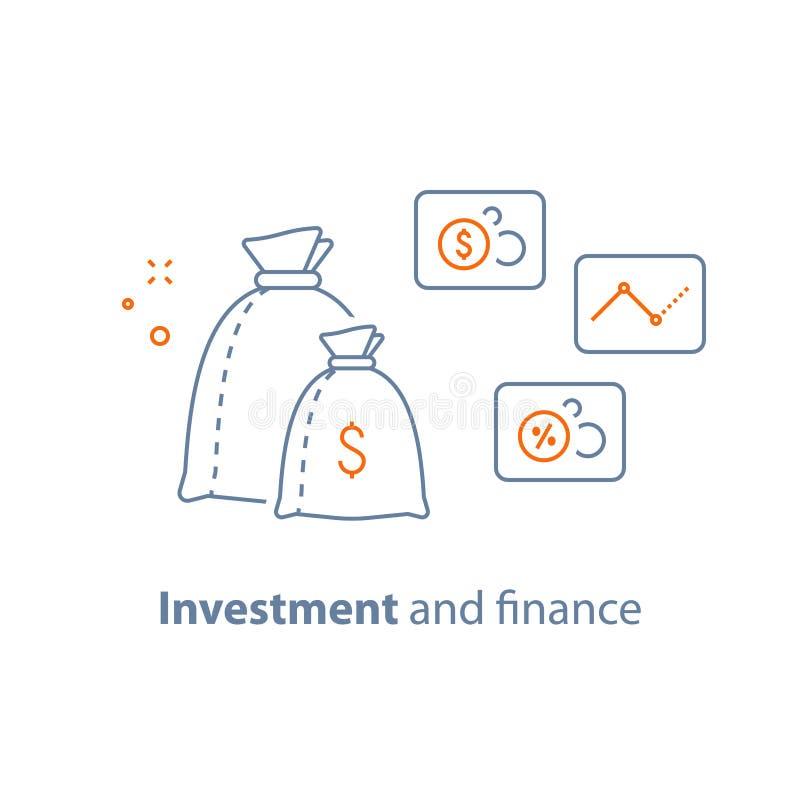 资本成长,利率,收入增量,长期投资,财务分析,挣金钱,筹款 库存例证