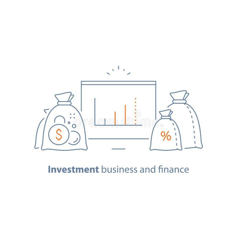 资本成长,利率,收入增量,长期投资,财务分析,挣金钱,筹款 皇族释放例证