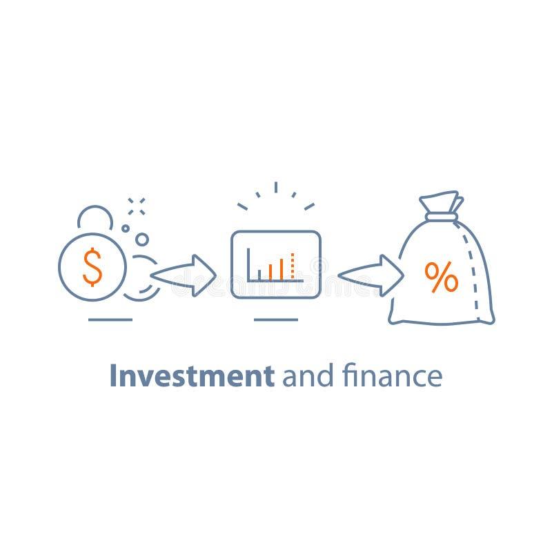 资本成长,高利息,收入增量,长期投资,财政赢利,挣金钱,筹款,退休金储款 库存例证