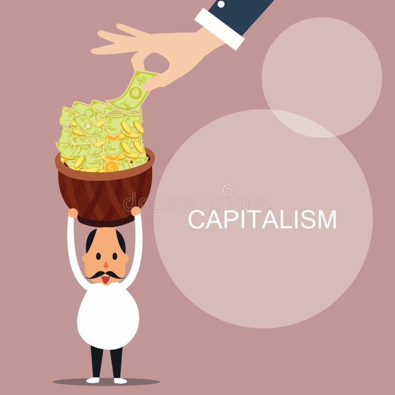 资本主义人带来全部金钱资本概念 皇族释放例证