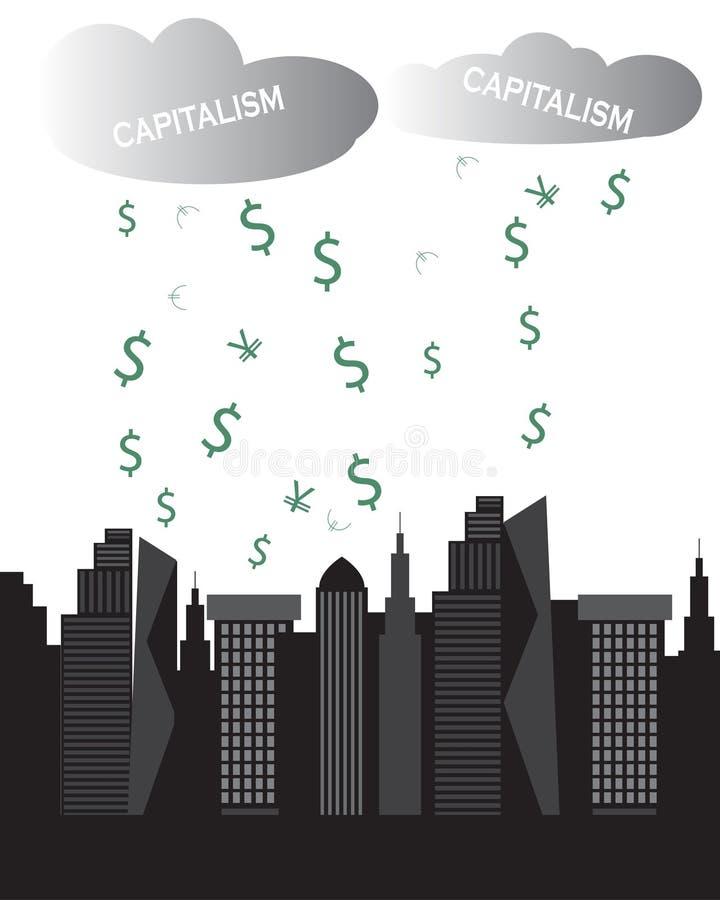 资本主义覆盖富有都市风景摩天大楼金钱下雨 向量例证