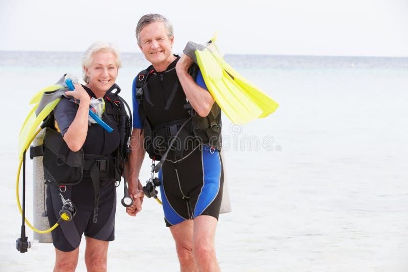 资深加上享受假日的佩戴水肺的潜水设备 免版税库存图片