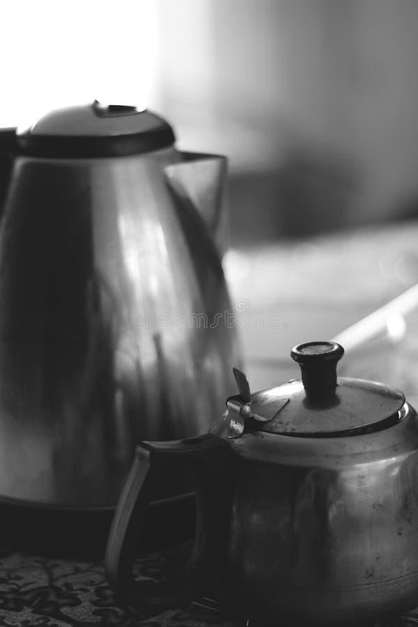 资深和小辈茶斑点在村庄房子里 免版税库存图片
