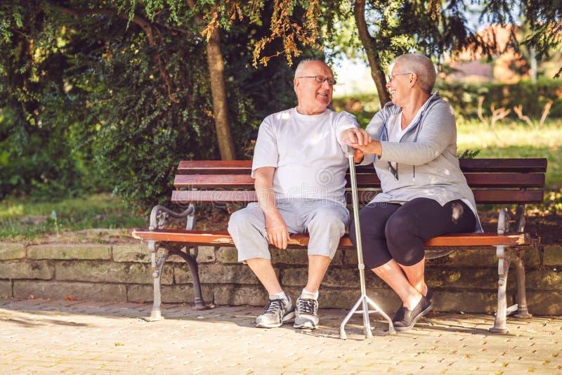 资深夫妇在微笑的公园,当一起时感到愉快 免版税库存图片
