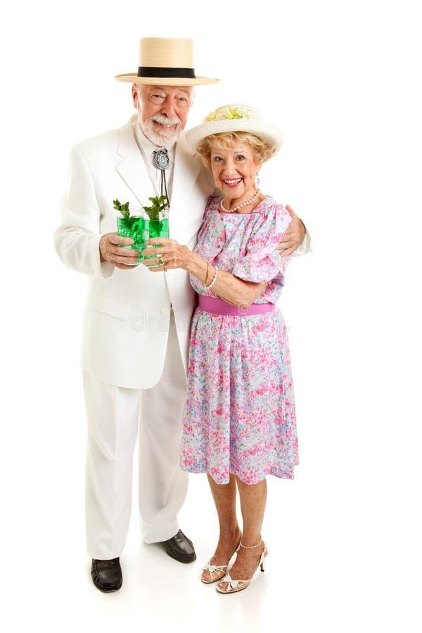 资深夫妇在德比天 免版税库存照片