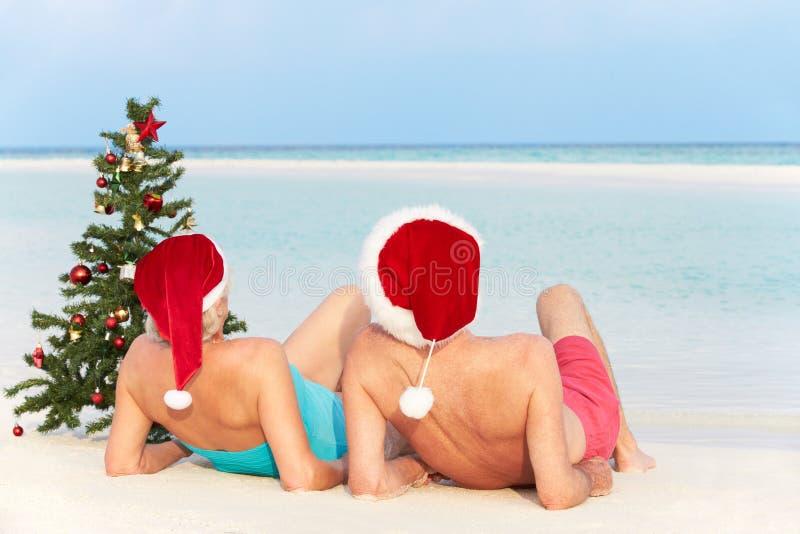 Download 资深夫妇坐与圣诞树和帽子的海滩 库存图片. 图片 包括有 人员, 克劳斯, 欢乐, 唾液, 白种人, 放松 - 30329123