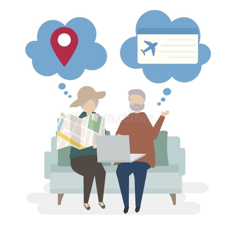 资深夫妇字符的例证与旅行的概念的 库存例证