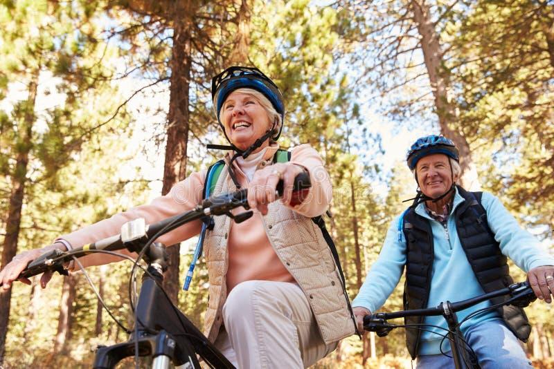 资深夫妇山骑自行车在森林足迹的,低角度 库存照片