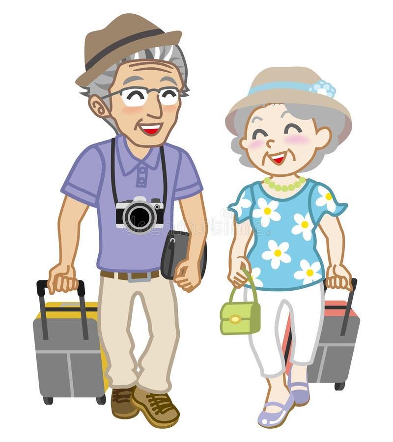 资深夫妇旅行家,被隔绝 库存例证