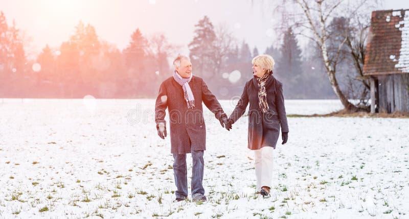 资深夫妇有步行在冬天 库存图片