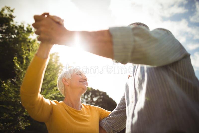 资深夫妇跳舞在公园 库存图片